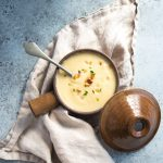 creamy potage soup with cauliflower leek and pine nuts