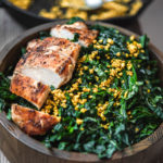lemony tuscan kale with cashew turmeric crumble and grilled chicken