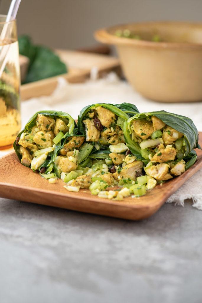 chicken curry egg salad collard green wraps