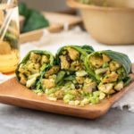 collard green wraps filled with curried chicken egg salad
