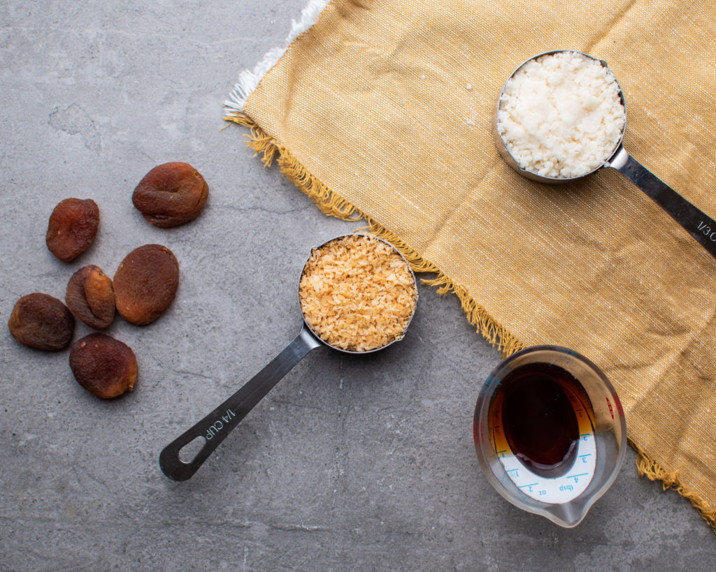 4-ingredients: dried apricots, toasted apricot, maple syrup, coconut butter