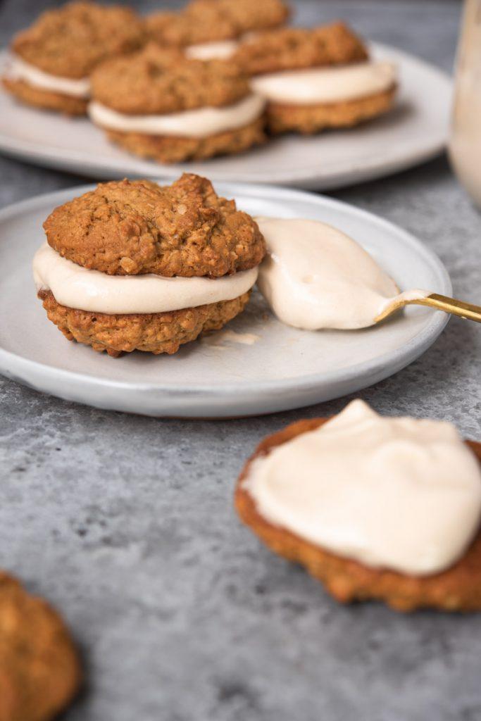 peanut butter oatmeal cookies with homemade fluffernutter cream