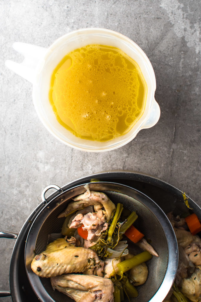 chicken stock made from chicken wings and vegetables