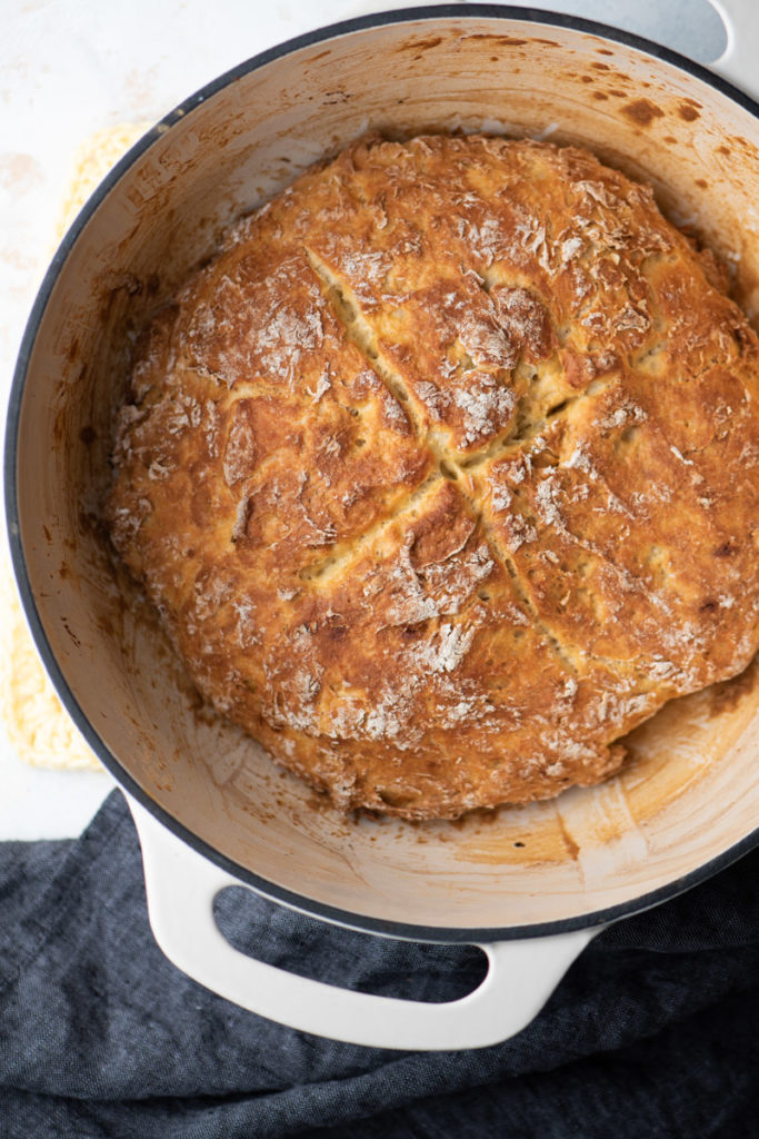 Irish soda bread baked in round dutch oven