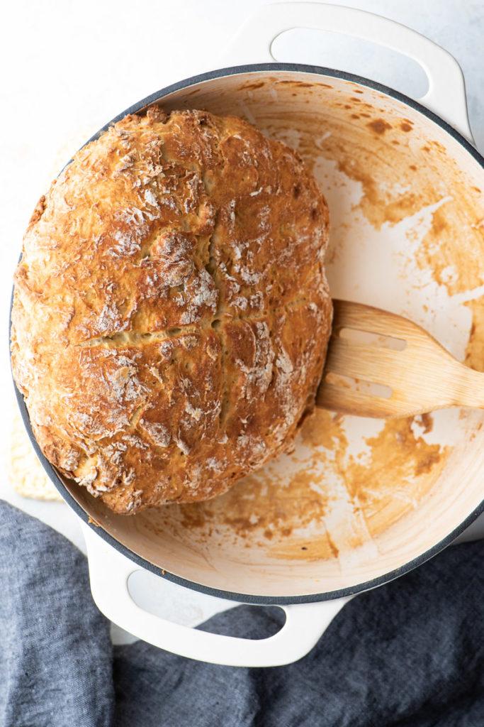 traditional irish soda bread in dutch oven