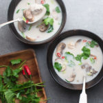 tom kha gai soup with coconut chicken broth