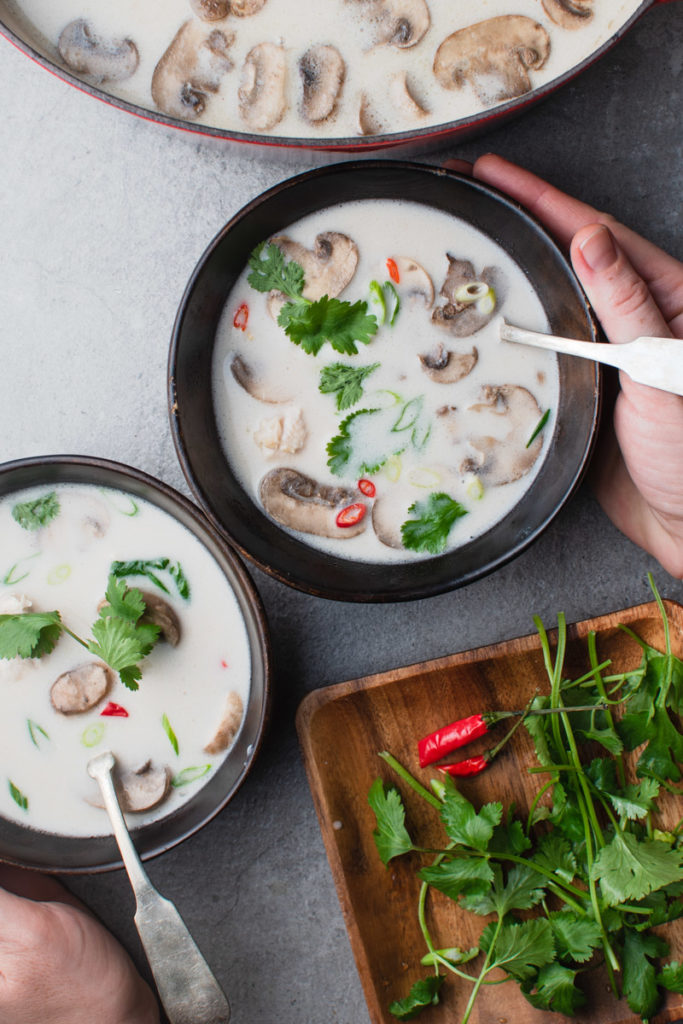 tom kha gai soup with coconut milk and chicken broth