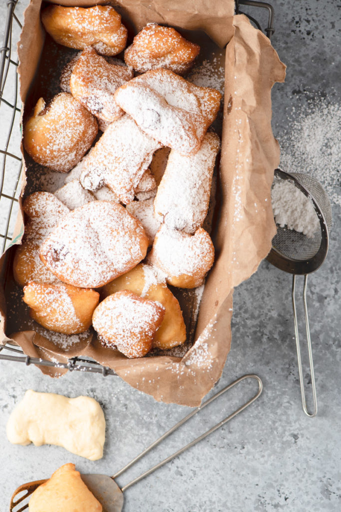 confectioners sugar dusted beignets