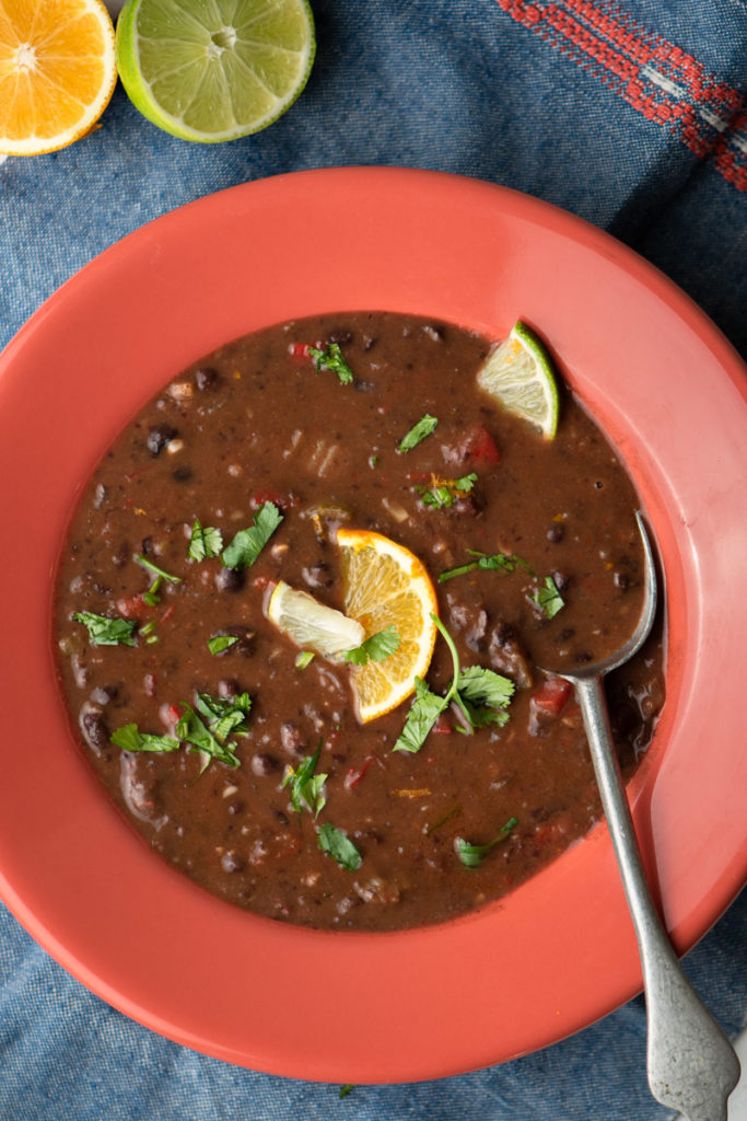 spicy black bean soup with lime and orange
