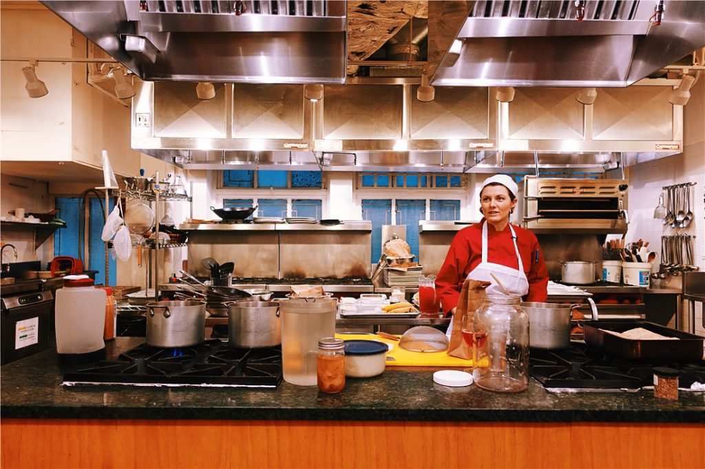 chef Sara Furcini teaching