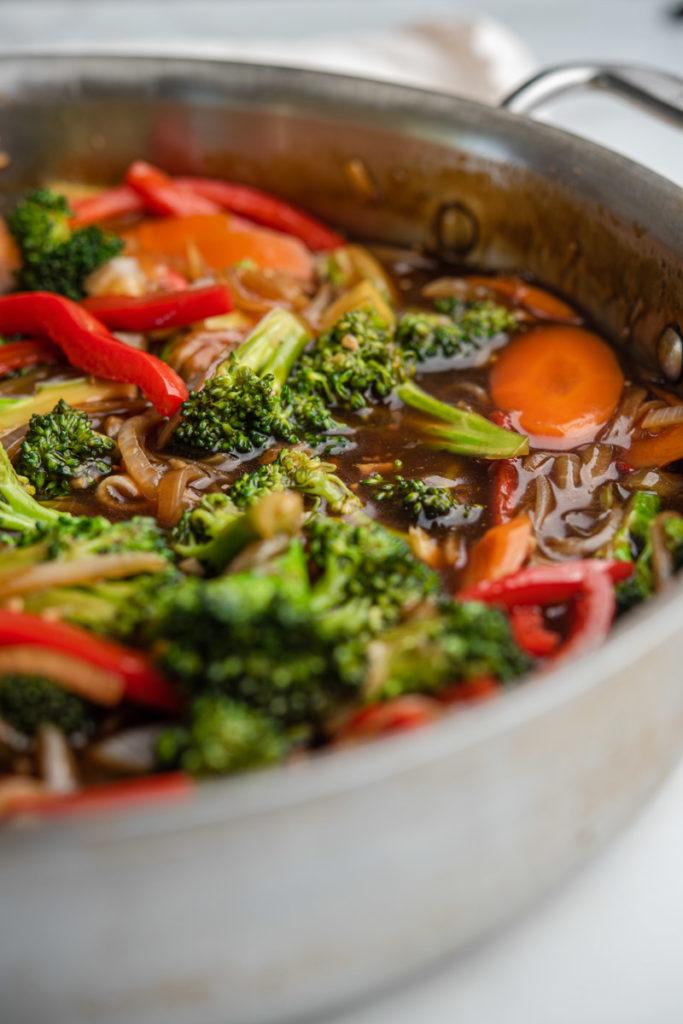 stir fried vegetables in homemade teriyaki sauce