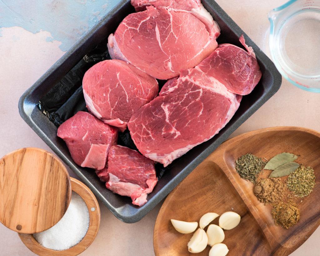 chuck beef tri tip, garlic, oregano, cumin, thyme