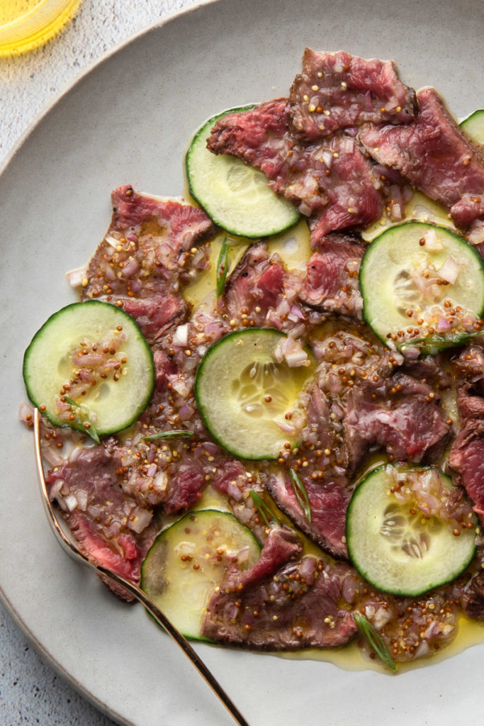 cold flank steak salad with cucumbers