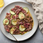 flank steak salad with cucumber and mustard vinaigrette