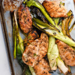 grilled chicken cutlets with leeks and rosemary