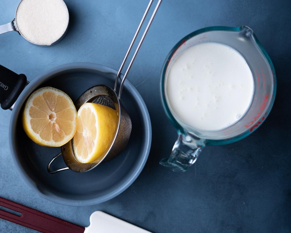 lemon, granulated sugar, and heavy cream
