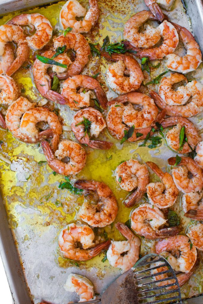 roasted garlic shrimp with oregano, cayenne, and lime