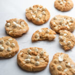 white chocolate chip cookies with macadamia nuts and brown butter