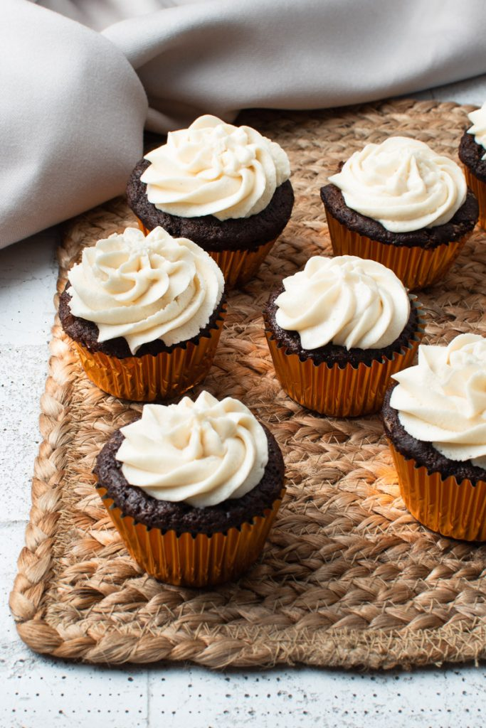 chocolate cupcakes made with a hint of almond extract and a homemade vanilla frosting