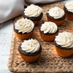 Chocolate Almond Cupcakes with Vanilla Frosting
