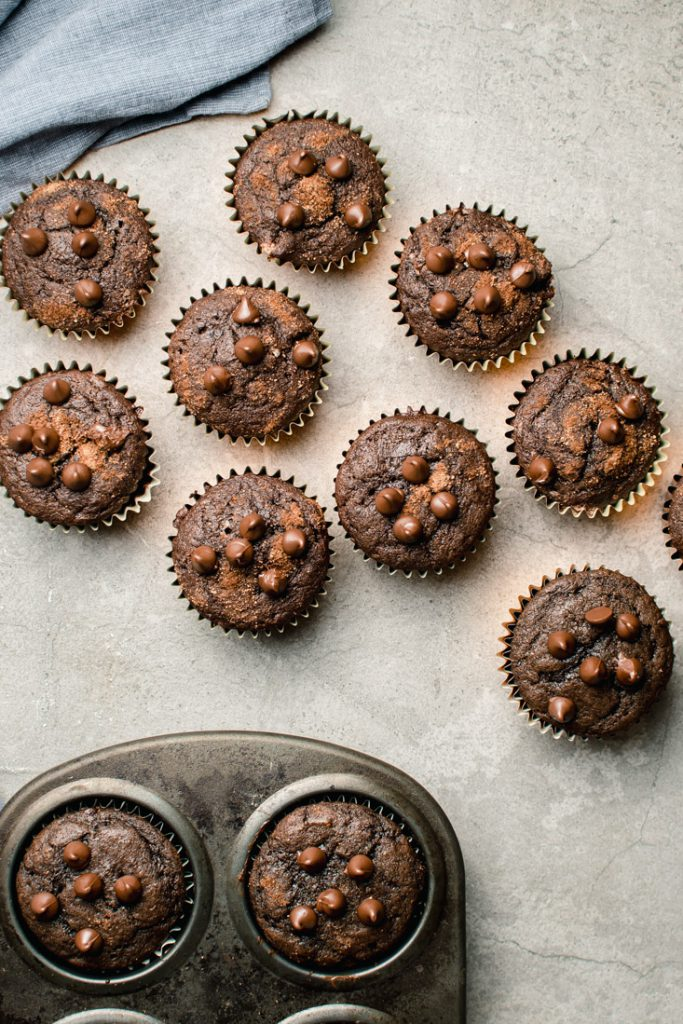 rich chocolate muffins with chocolate chips