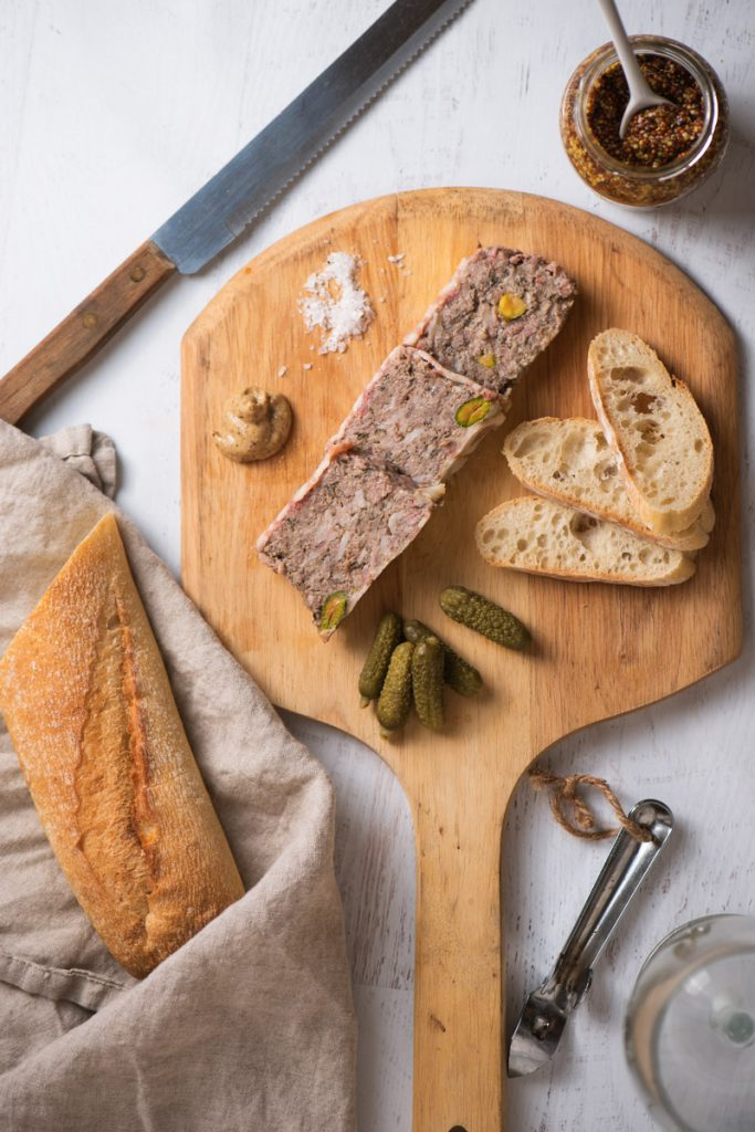 country pate with pistachios, cornichons, and dijon