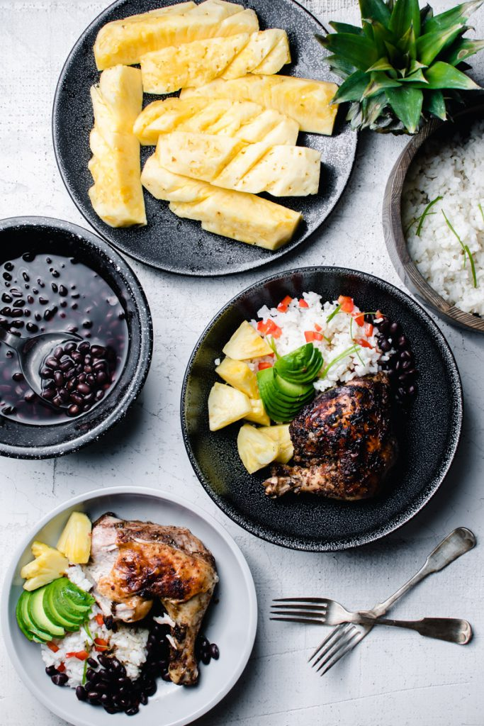 jerk chicken bowls with black beans, pineapple, and coconut rice