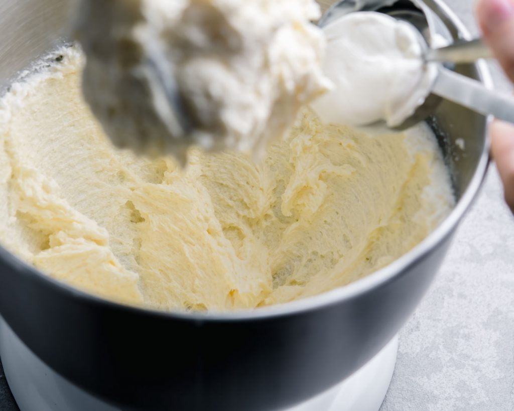 creamed butter and sugar in stand mixer