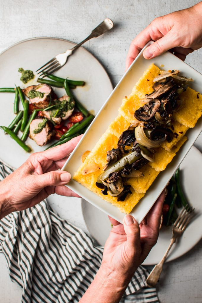 roasted garlic polenta and pork tenderloin dinner