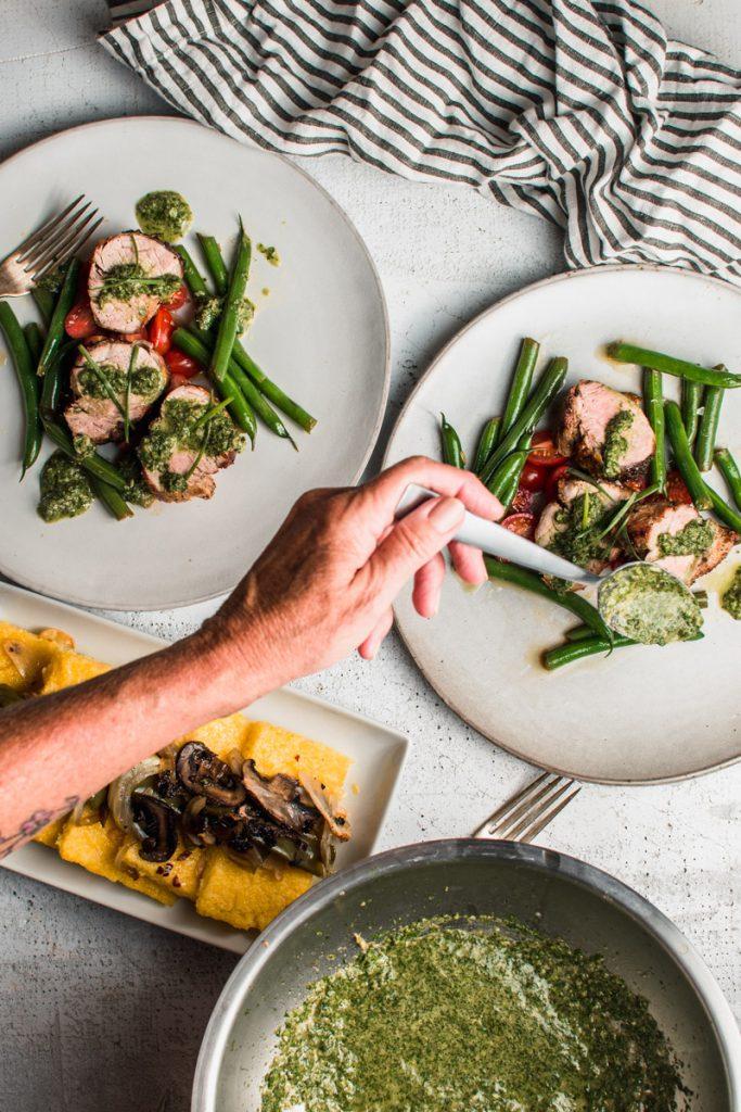 cilantro sauce served over seared pork tenderloin