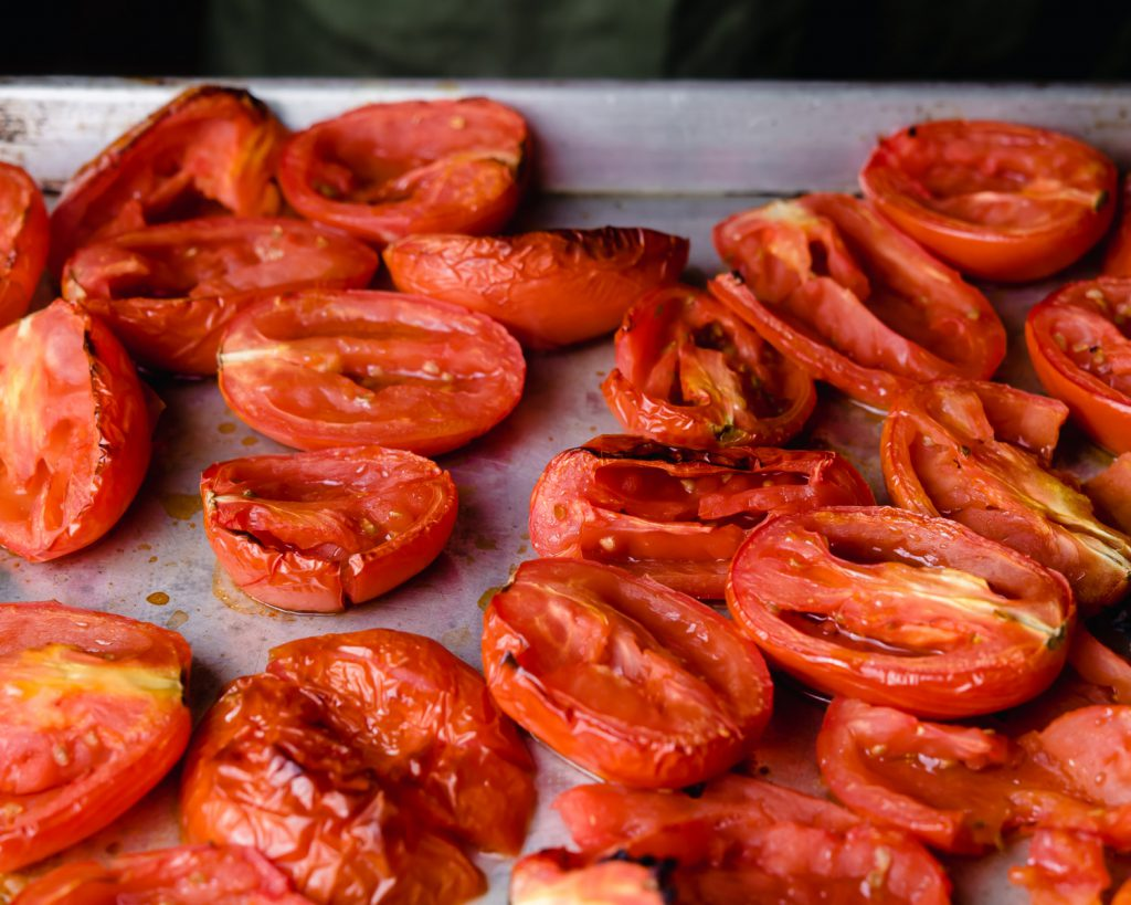 roasted blistered plum tomatoes
