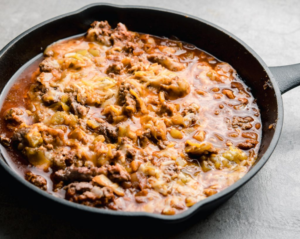 a saucy filling in a skillet