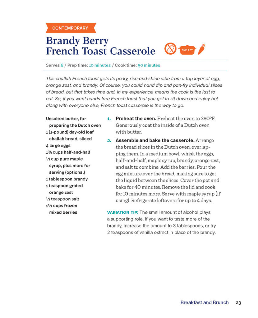 excerpt of brandy berry french toast casserole recipe from Easy Dutch Oven Cooking