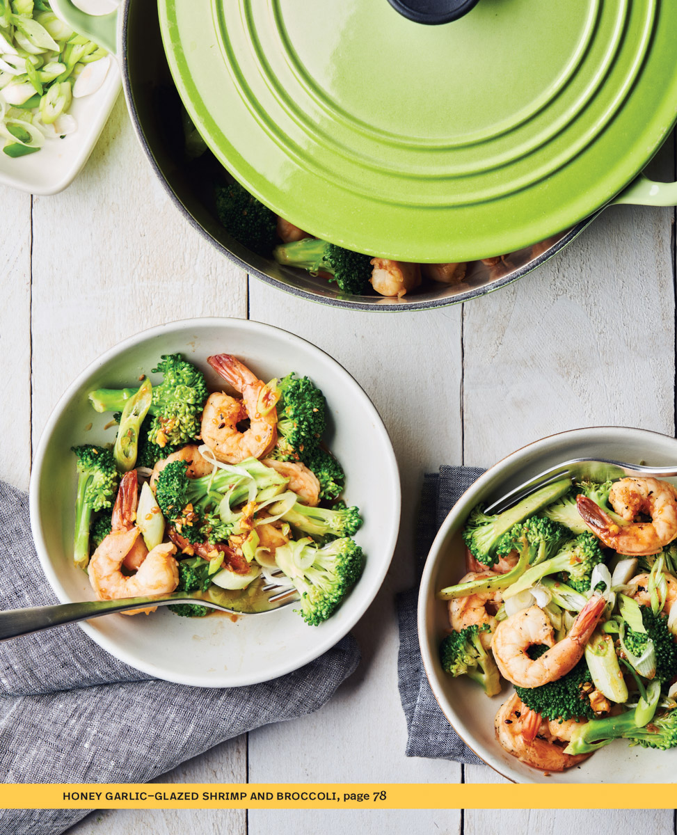 honey garlic-glazed shrimp and broccoli