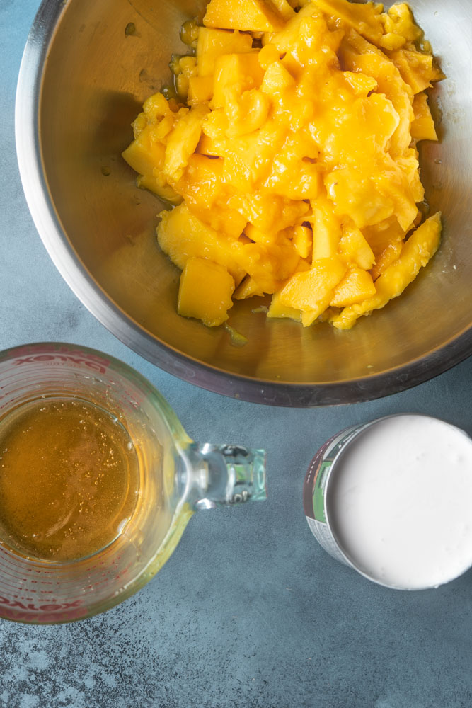 mango, honey, and coconut milk