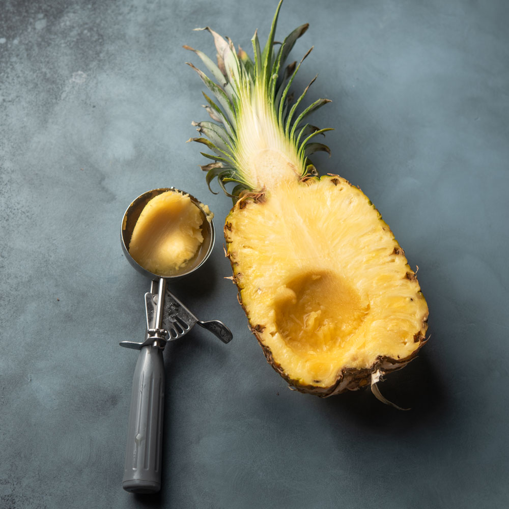 pineapple with ice cream scoop