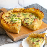 quiche with bacon and cheddar in hashbrown crust