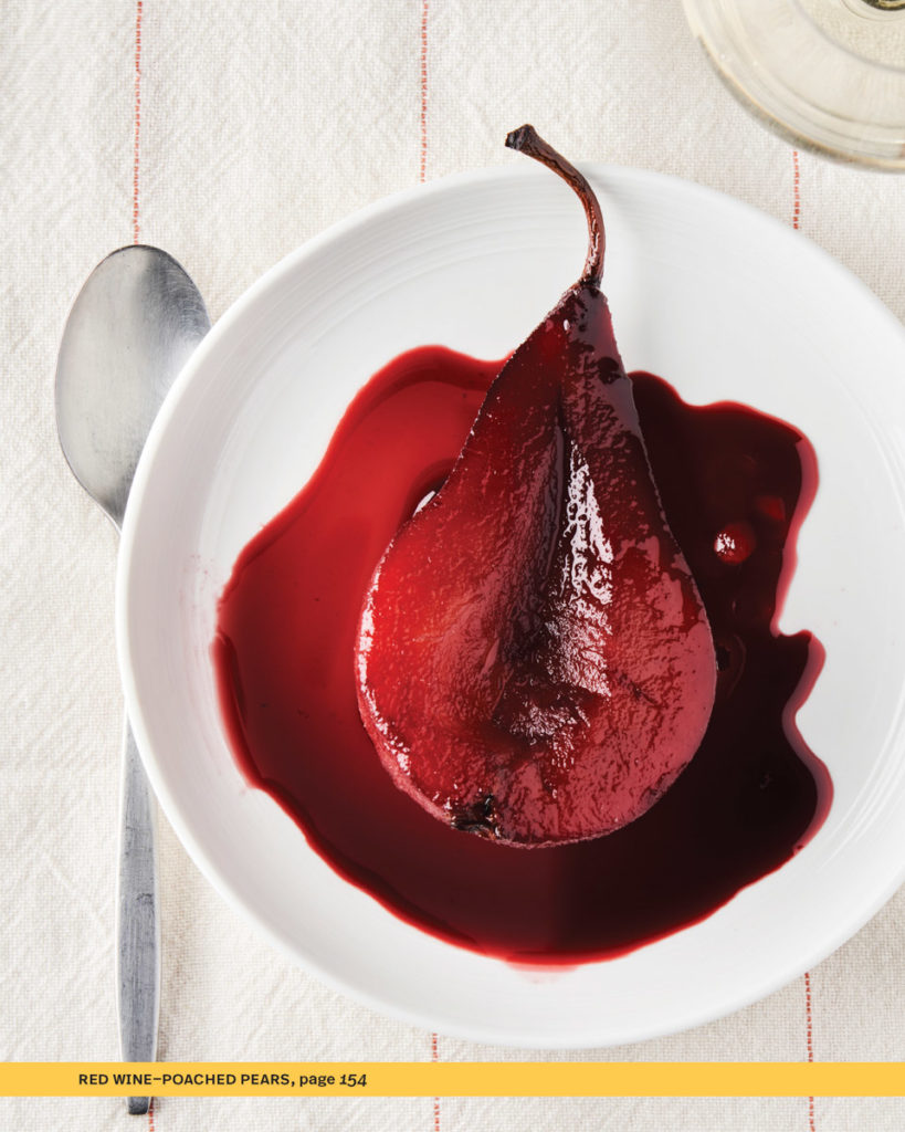 red wine poached pear in red wine sauce