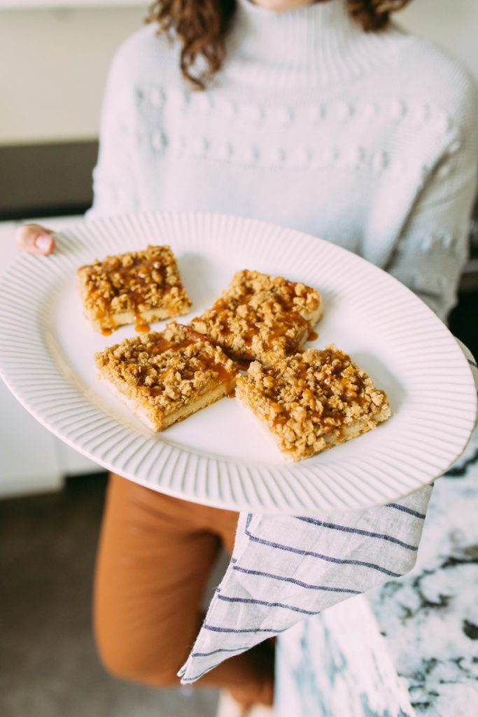 apple pie bars served with salted caramel sauce