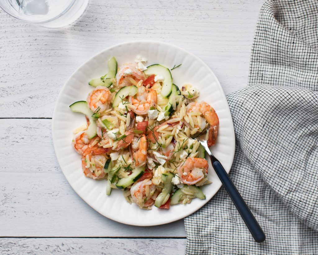 orzo shrimp pasta salad with lemon dressing and cucumber and tomato