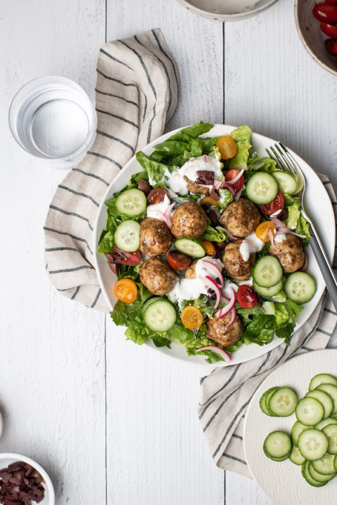 romaine salad with turkey meatballs and yogurt dressing
