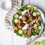 turkey meatball salad with yogurt dressing