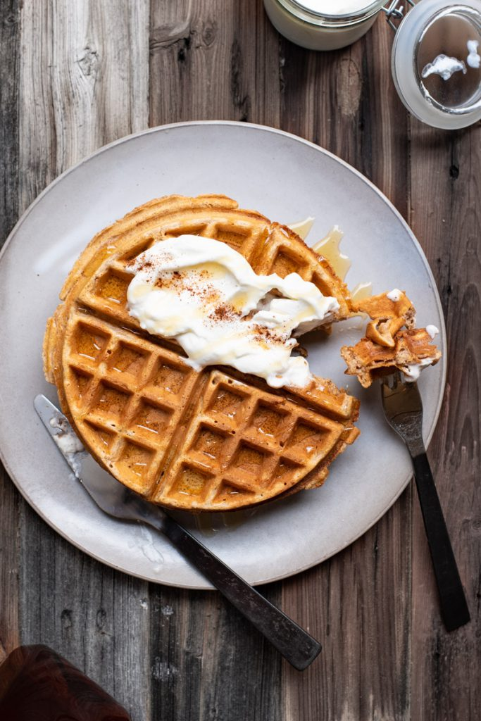 homemade waffles made with whole wheat flour
